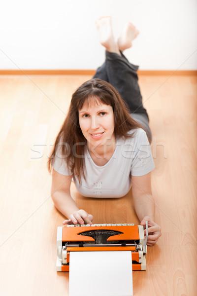 Women typing typewriter Stock photo © ia_64