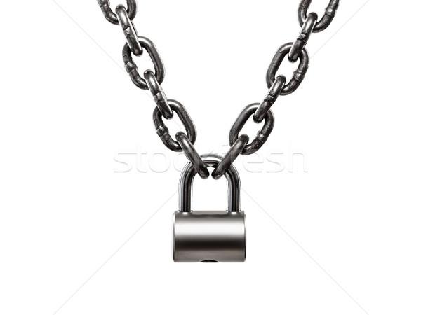 Hardened steel cargo lifting metal chain locked on padlock Stock photo © ia_64