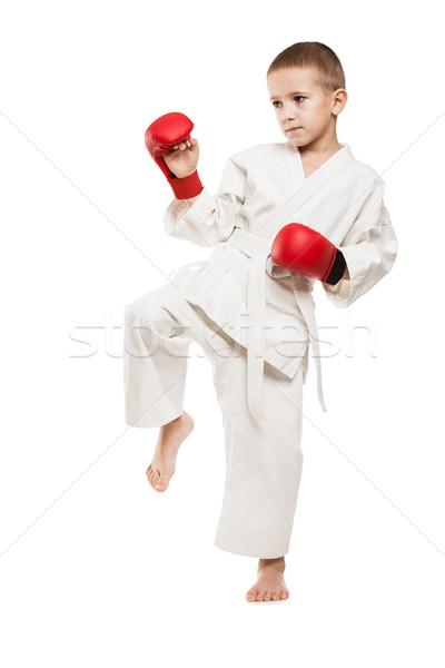 çocuk erkek kimono eğitim karate Stok fotoğraf © ia_64