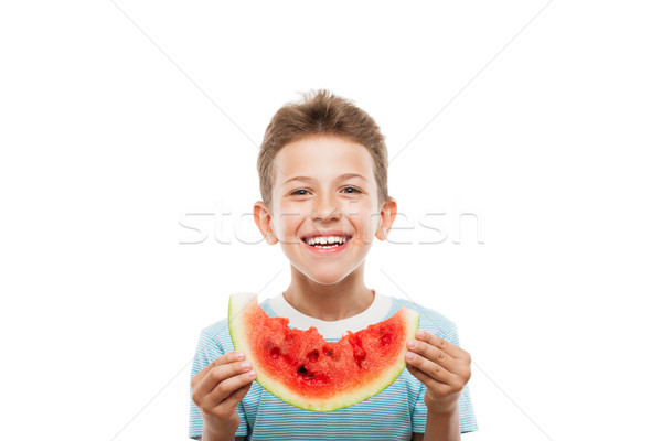 Yakışıklı gülen çocuk erkek kırmızı Stok fotoğraf © ia_64