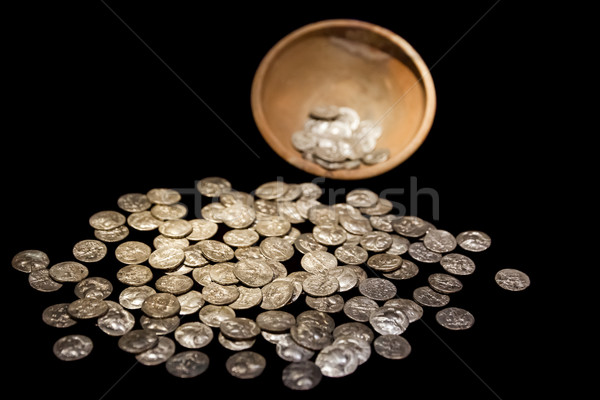 Treasure pot with ancient gold and silver coins money Stock photo © ia_64