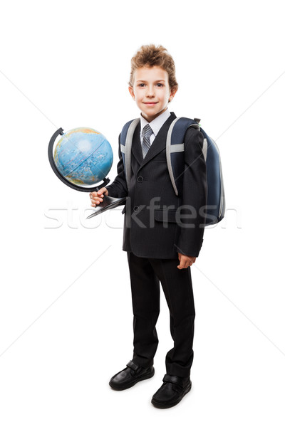 Pupil in business suit holding Earth globe and school backpack Stock photo © ia_64