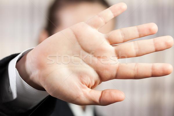 Kéz rejtőzködik arc félénk üzletemberek kézmozdulat Stock fotó © ia_64