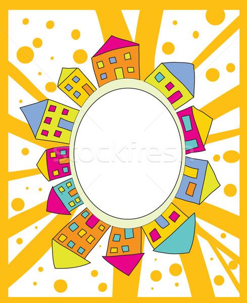 Keret házak rajz ház jókedv festmény Stock fotó © iaRada