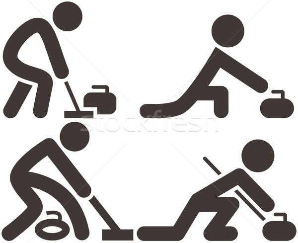 Stock photo: Curling icons set