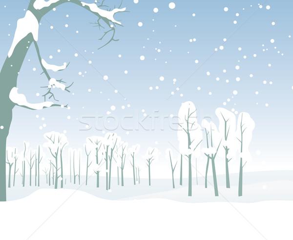 Kış Manzara Doğa Boyama Siluet Noel Vektör Ilüstrasyonu