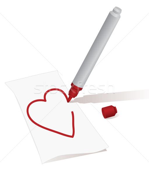 Foto stock: Coração · vermelho · caneta · folha · papel · branco