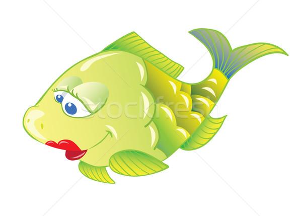 魚 楽しい 漫画 孤立した 白 色 ストックフォト © iaRada