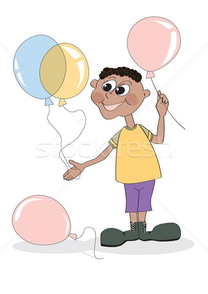 Chłopca balony wesoły kolor strony twarz Zdjęcia stock © iaRada