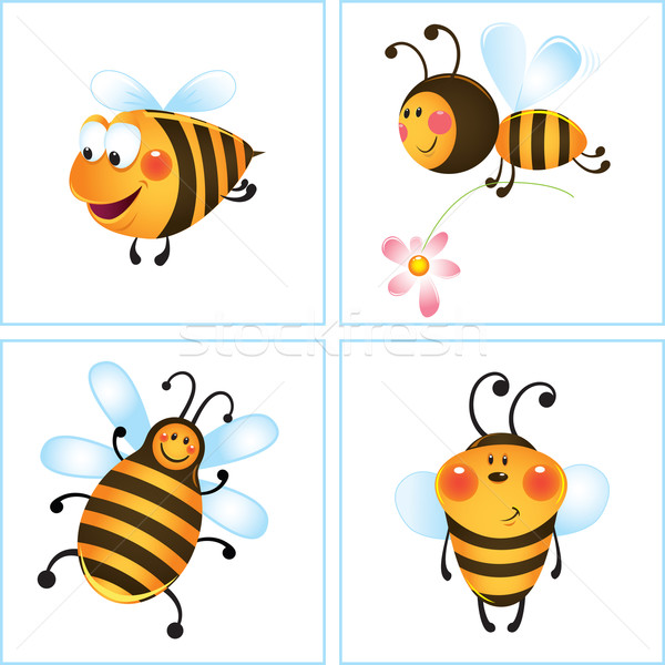 Vicces méhek méh virág keret rajz Stock fotó © iaRada