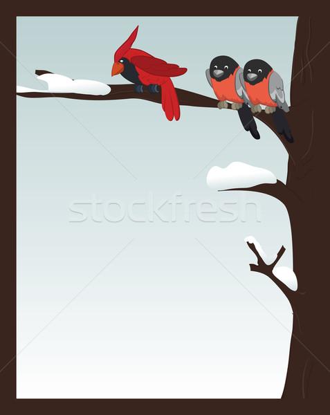 Birds in winter forest  Stock photo © iaRada