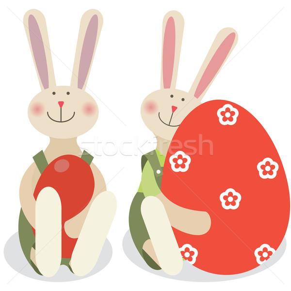 Dwa Wielkanoc króliki królik wiosną szczęśliwy Zdjęcia stock © iaRada