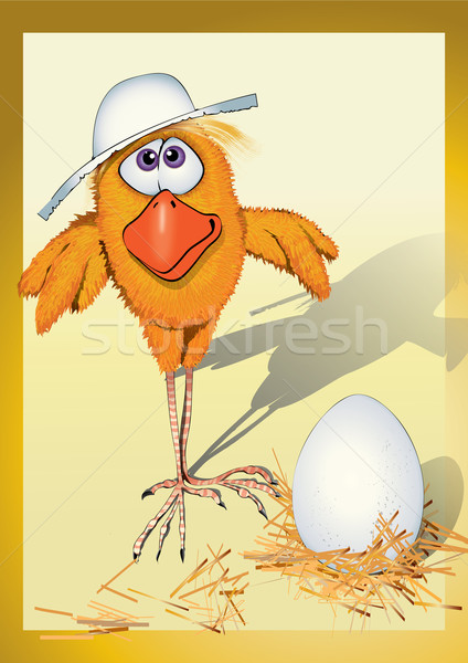 Kurczaka hat urodziny ptaków czasu gospodarstwa Zdjęcia stock © iaRada