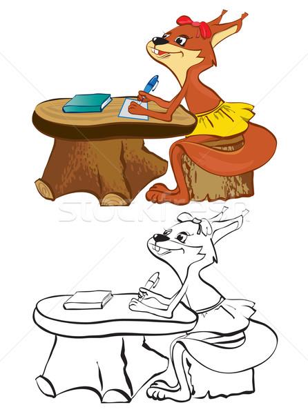 Wiewiórki szkoły biurko kontur kolor papieru Zdjęcia stock © iaRada
