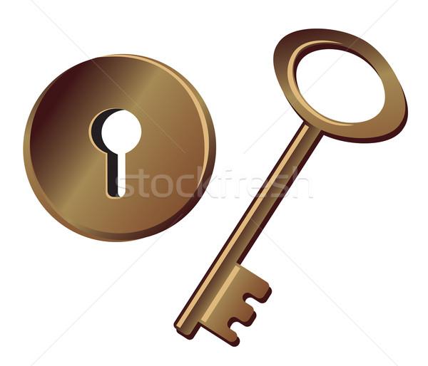 Kulcs kulcslyuk izolált fehér fém zár Stock fotó © iaRada