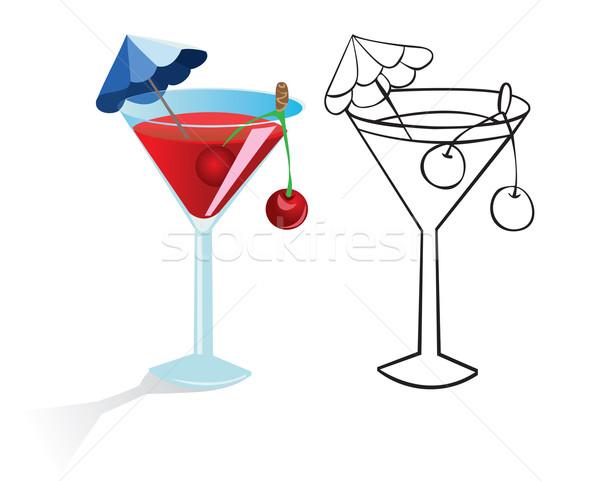 Cocktail glas drinken paraplu vruchten kleur Stockfoto © iaRada