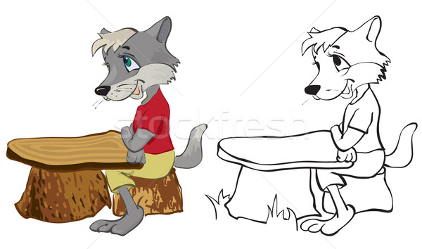 Wolf sits at a school desk Stock photo © iaRada