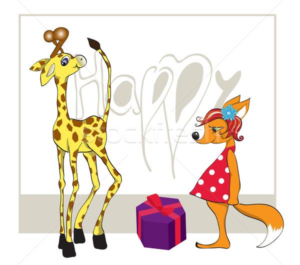 Zsiráf ajándék róka festék születésnap jókedv Stock fotó © iaRada