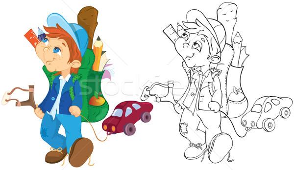 Ondeugend jongen speelgoed auto kleur schets Stockfoto © iaRada