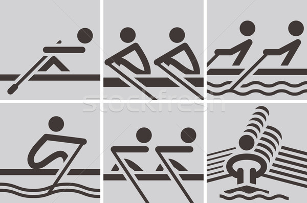 Roeien iconen zomer sport water Stockfoto © iaRada