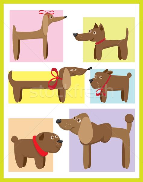 Kutyák rajz szett kártyák sziluett kártya Stock fotó © iaRada