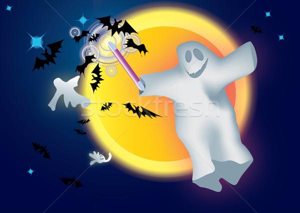 Fantôme lune espace blanche peur bat Photo stock © iaRada