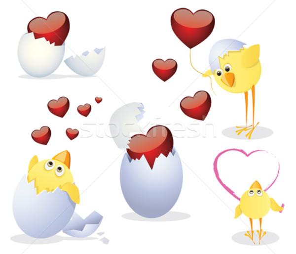 Valentin nap valentin nap clipart húsvét baba szív Stock fotó © iaRada
