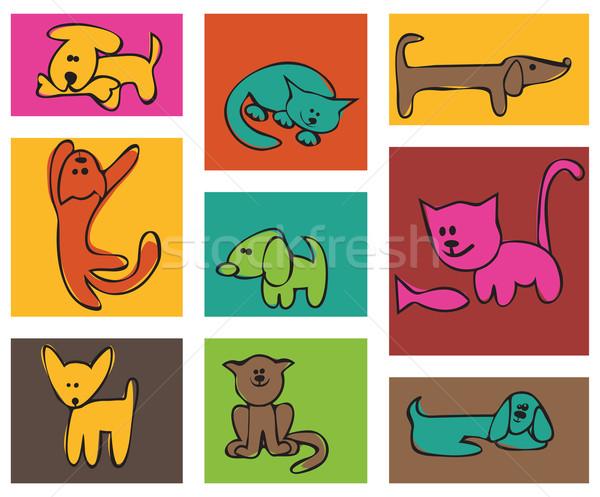 Gestileerde tekening katten honden ingesteld kaarten Stockfoto © iaRada