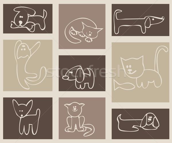 Foto stock: Estilizado · dibujo · gatos · perros · establecer · tarjetas