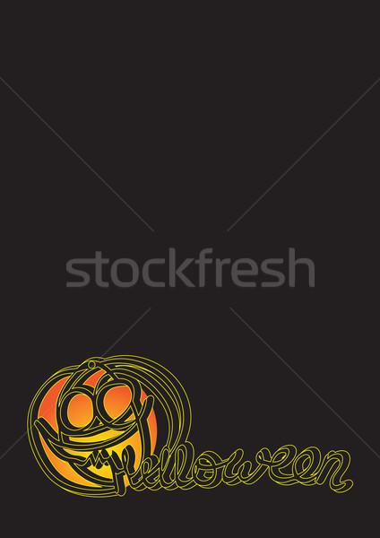 Halloween kártya fekete hold jókedv gyertya Stock fotó © iaRada