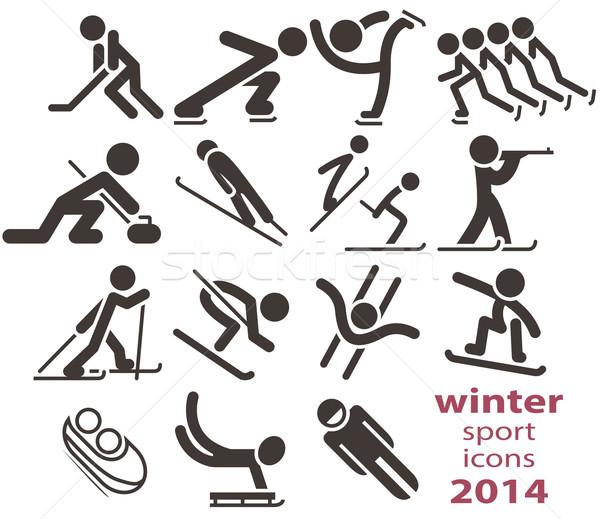 Wintersport iconen 2014 man kruis winter Stockfoto © iaRada