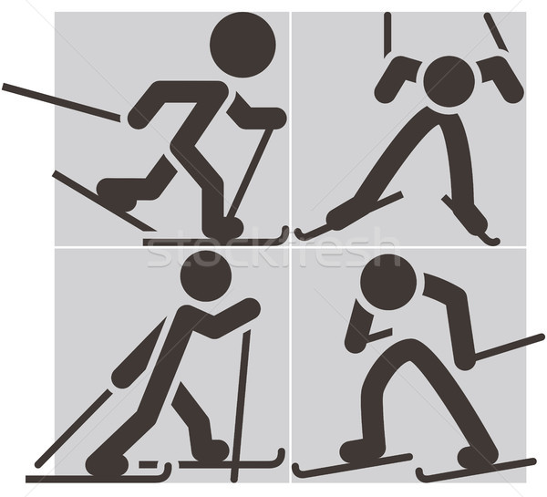 Cross-country skiing icons Stock photo © iaRada