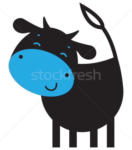 Vicces tehén boldog jókedv fej rajz Stock fotó © iaRada
