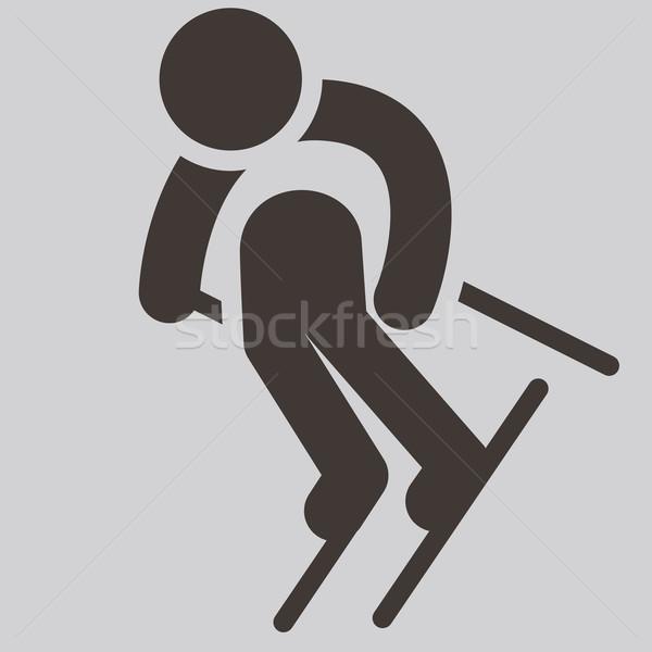 Narty ikona sportu górskich podpisania Zdjęcia stock © iaRada