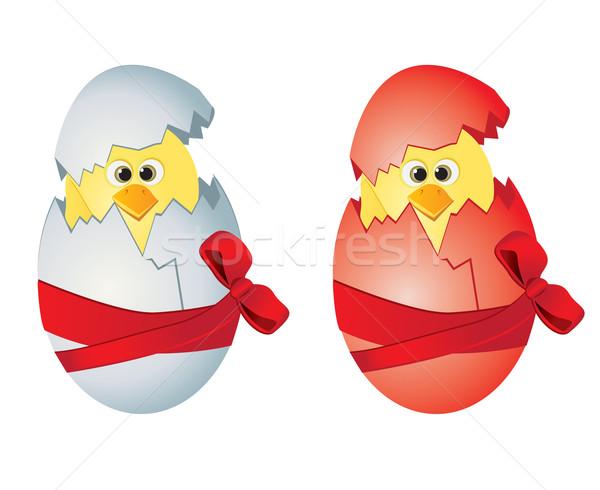 Húsvéti tojások íj tojás tyúk jókedv állatok Stock fotó © iaRada