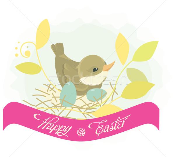 Húsvét madárfészek tavasz terv tojás művészet Stock fotó © iaRada
