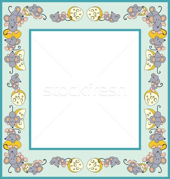 Egér keret fényképkeret egerek sajt absztrakt Stock fotó © iaRada
