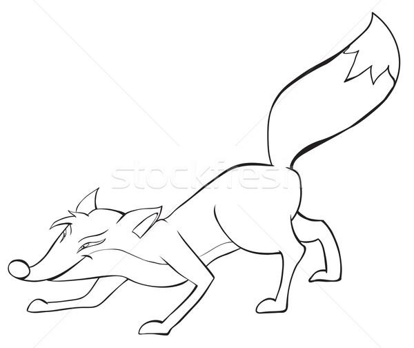 Leuk Rood vos contour tekening natuur Stockfoto © iaRada