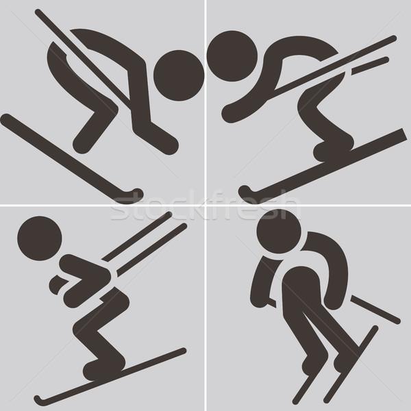 Narty ikona sportu śniegu sportowe górskich Zdjęcia stock © iaRada