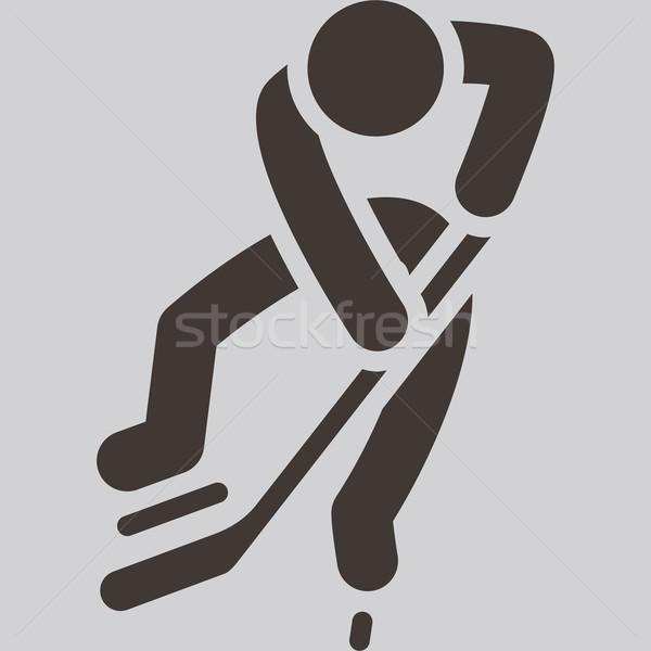 Jégkorong ikon téli sport sport sziluett korcsolya Stock fotó © iaRada