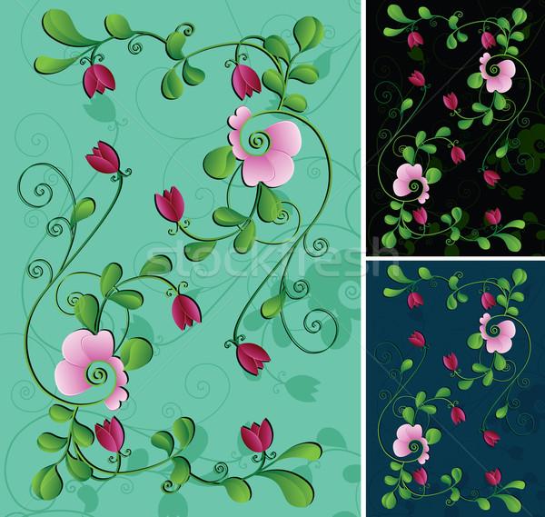 Virág tavasz levél háttér zöld festmény Stock fotó © iaRada