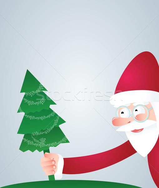 Święty mikołaj choinka uśmiech obecnej wakacje cartoon Zdjęcia stock © iaRada