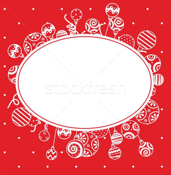 Czerwony christmas ramki streszczenie szkła tle Zdjęcia stock © iaRada