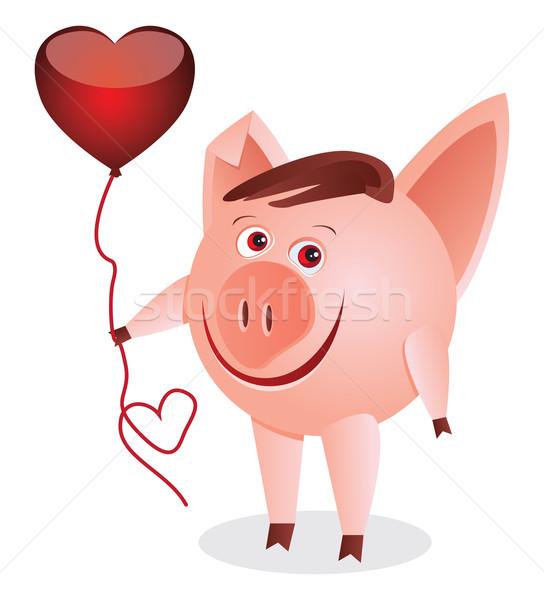 中心 豚 赤 楽しい ストックフォト © iaRada