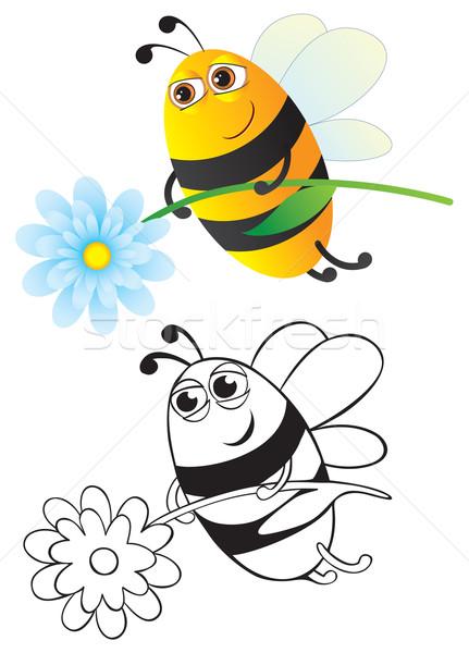 Pszczoła kwiat kolor kontur tle zabawy Zdjęcia stock © iaRada