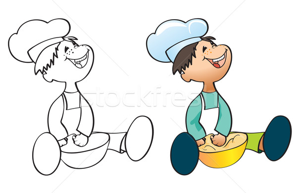 Weinig kok schilderij chef hoed witte Stockfoto © iaRada