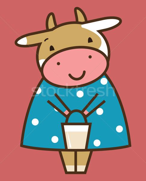 Grappig koe gelukkig leuk hoofd cartoon Stockfoto © iaRada