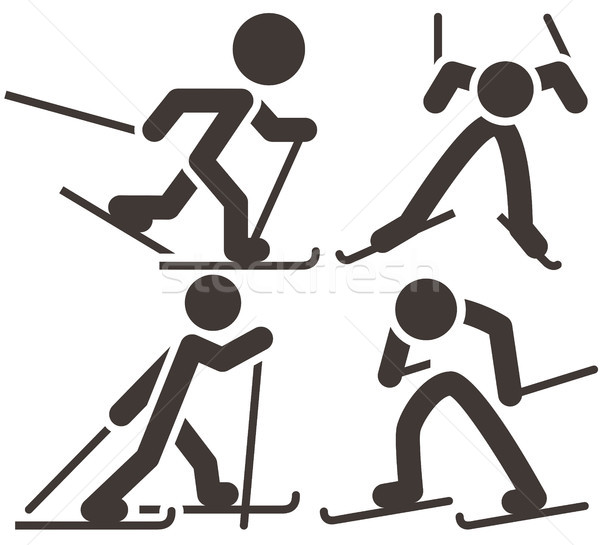 Cross-country skiing icons  set Stock photo © iaRada
