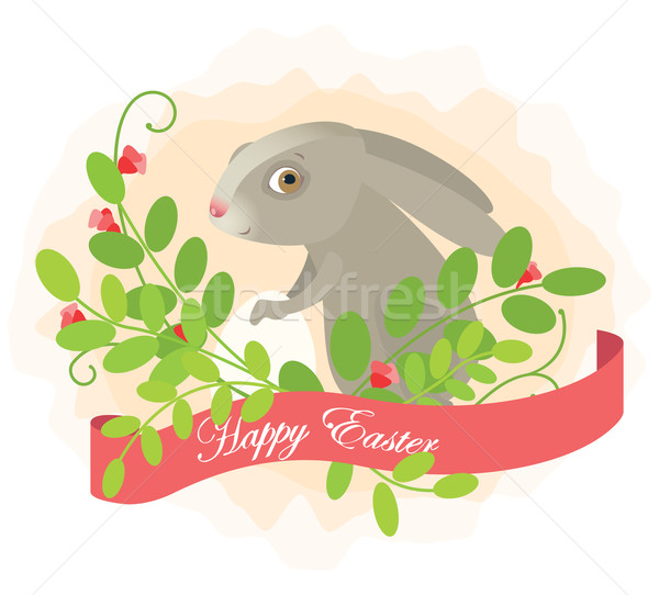 Wielkanoc królik kwiat charakter jaj zielone Zdjęcia stock © iaRada