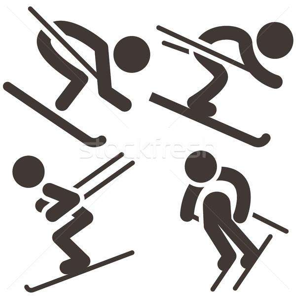 Downhill skiing icons  set Stock photo © iaRada
